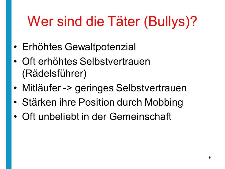 Wer sind die Täter (Bullys)