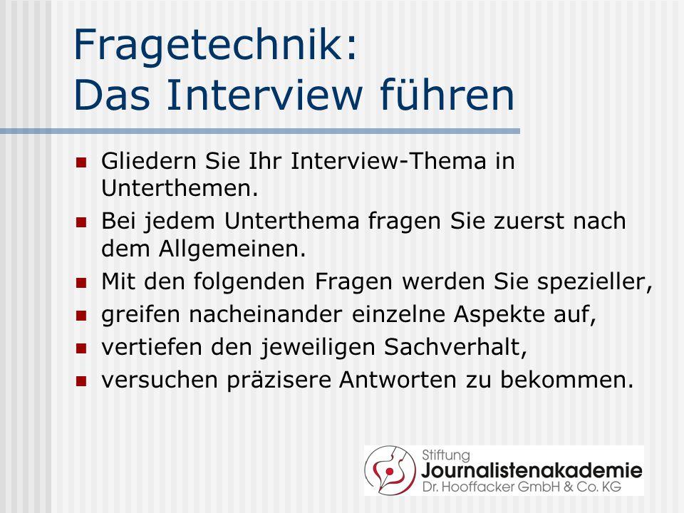 Fragetechnik: Das Interview führen
