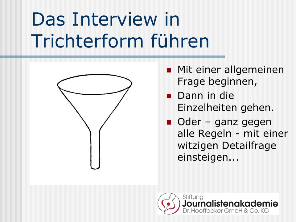 Das Interview in Trichterform führen