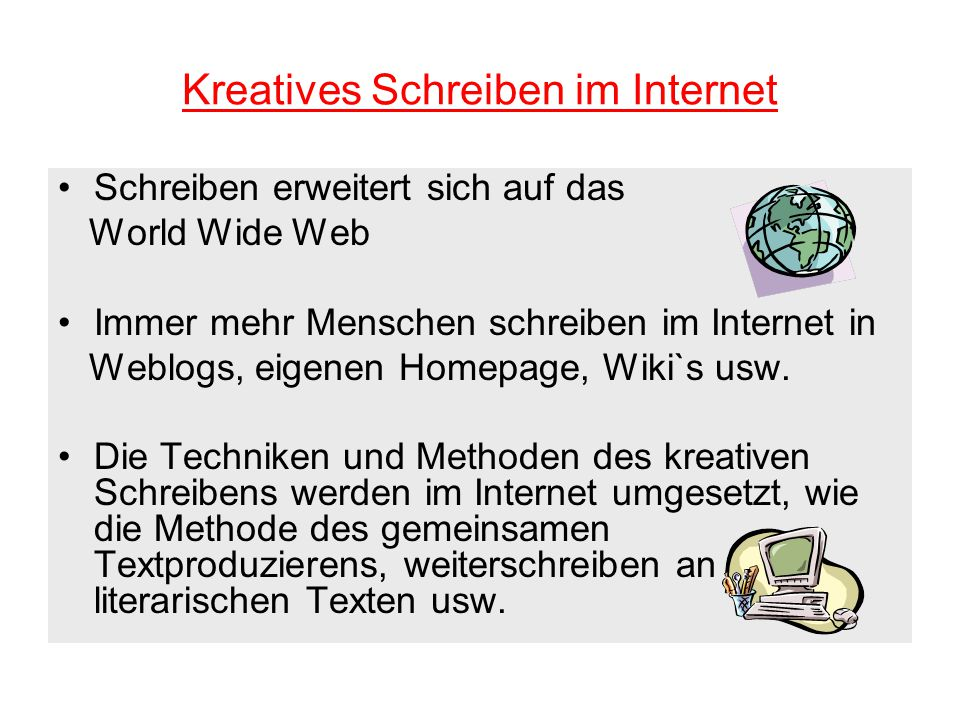 Kreatives Schreiben im Internet