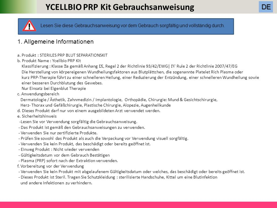 YCELLBIO PRP Kit Gebrauchsanweisung
