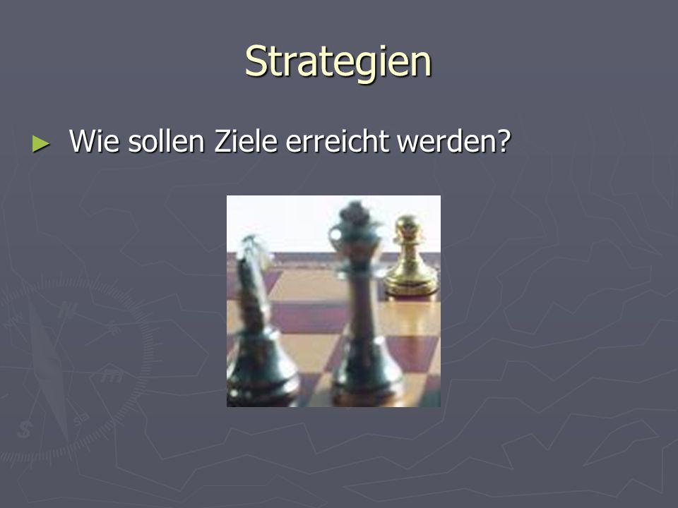 Strategien Wie sollen Ziele erreicht werden
