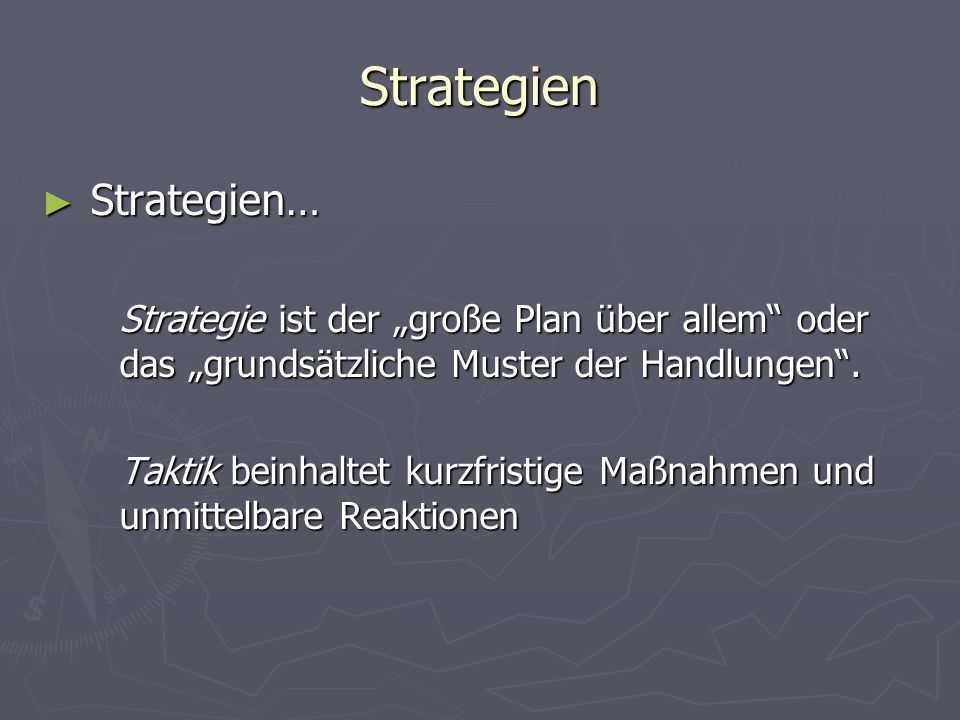 Strategien Strategien…