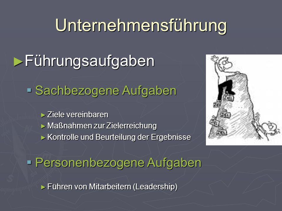 Unternehmensführung Führungsaufgaben Sachbezogene Aufgaben