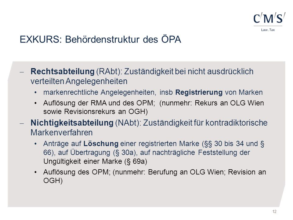 EXKURS: Behördenstruktur des ÖPA