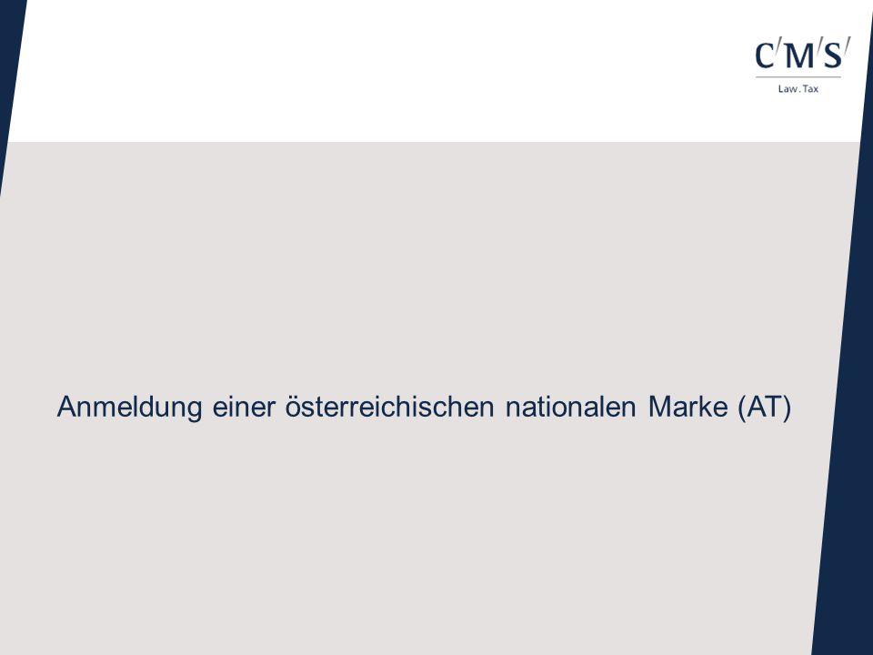 Anmeldung einer österreichischen nationalen Marke (AT)