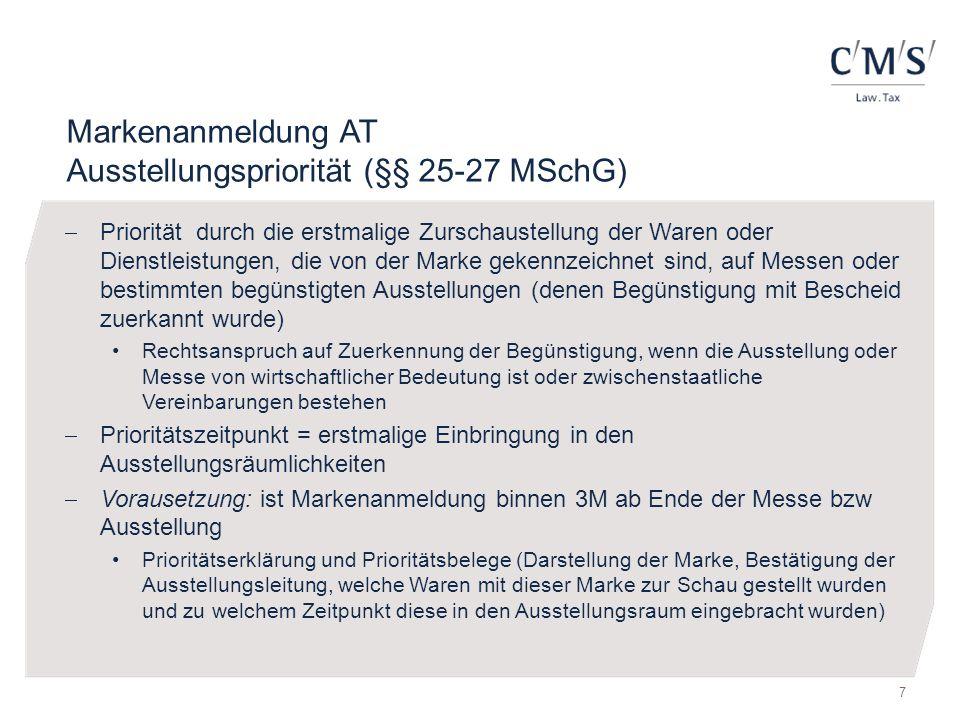 Markenanmeldung AT Ausstellungspriorität (§§ 25-27 MSchG)