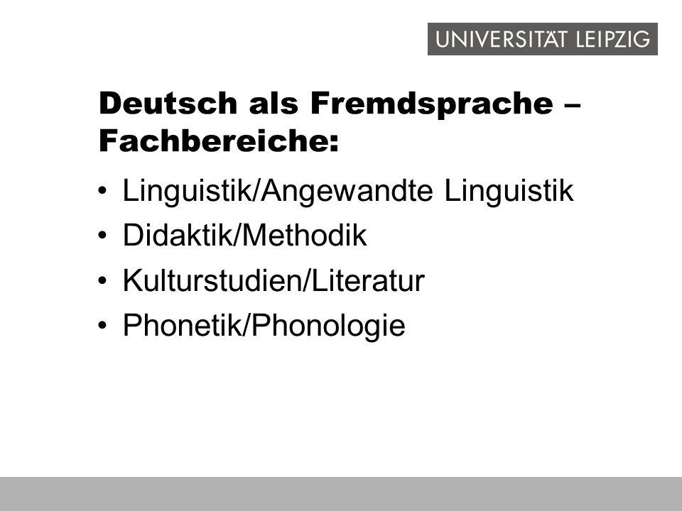 Deutsch als Fremdsprache – Fachbereiche: