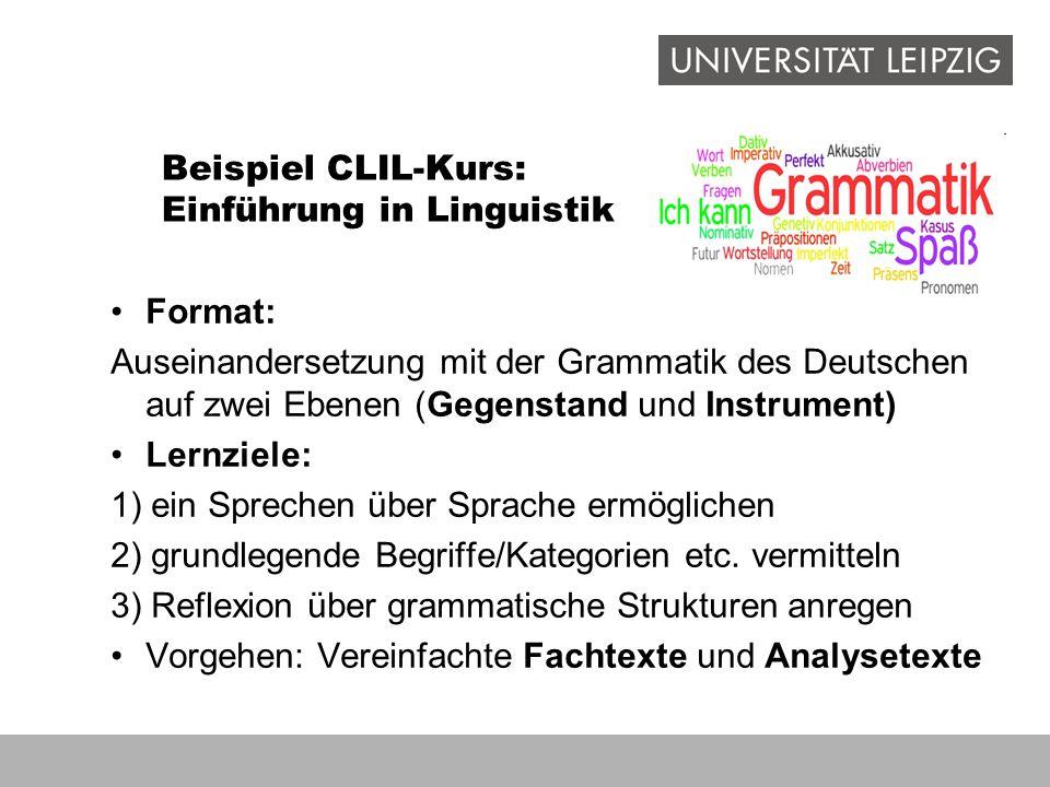 Beispiel CLIL-Kurs: Einführung in Linguistik