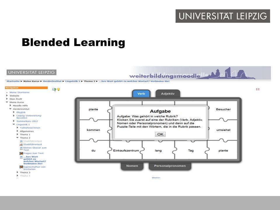 Blended Learning Begrenzt Arbeit mit Moodle: Nutzung des Weiterbildungsmoodle der UL, auch für externe verfügbar.