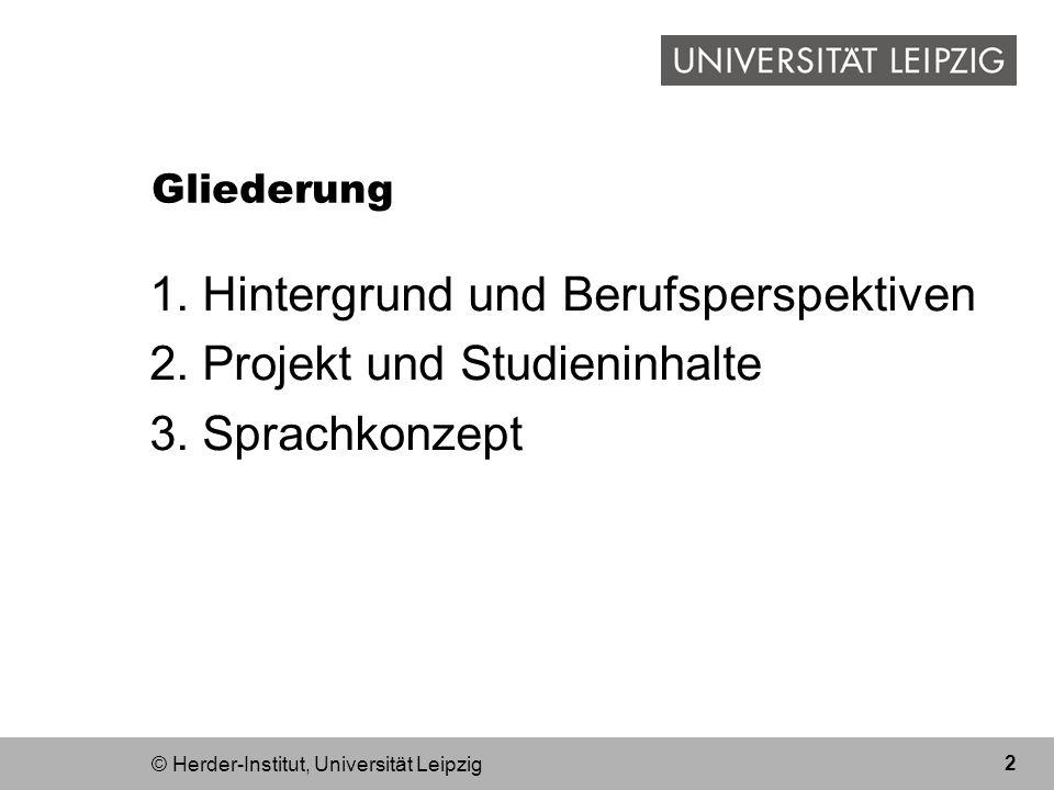 Hintergrund und Berufsperspektiven Projekt und Studieninhalte