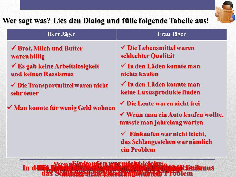 Wer sagt was Lies den Dialog und fülle folgende Tabelle aus!