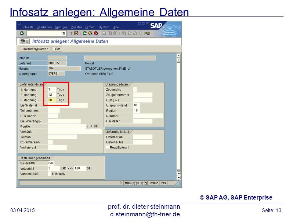 Infosatz anlegen: Allgemeine Daten