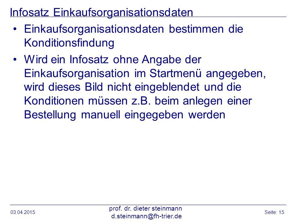 Infosatz Einkaufsorganisationsdaten
