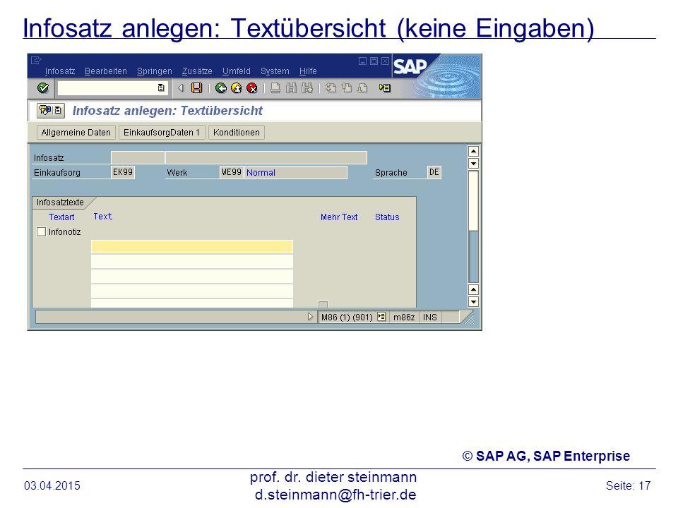 Infosatz anlegen: Textübersicht (keine Eingaben)