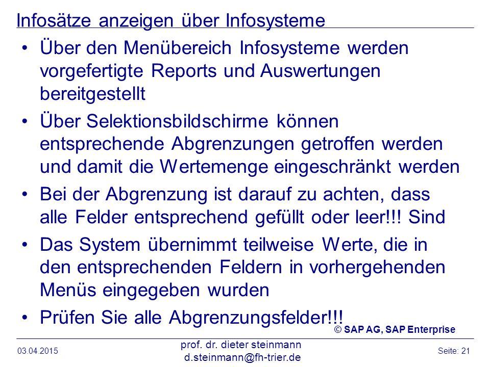 Infosätze anzeigen über Infosysteme