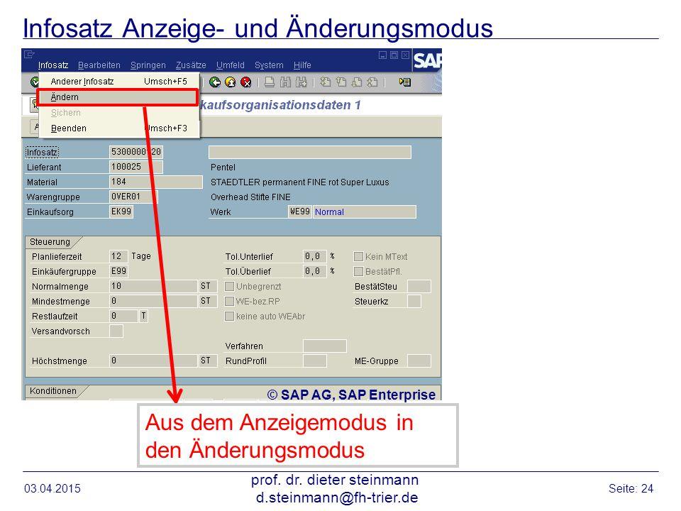 Infosatz Anzeige- und Änderungsmodus