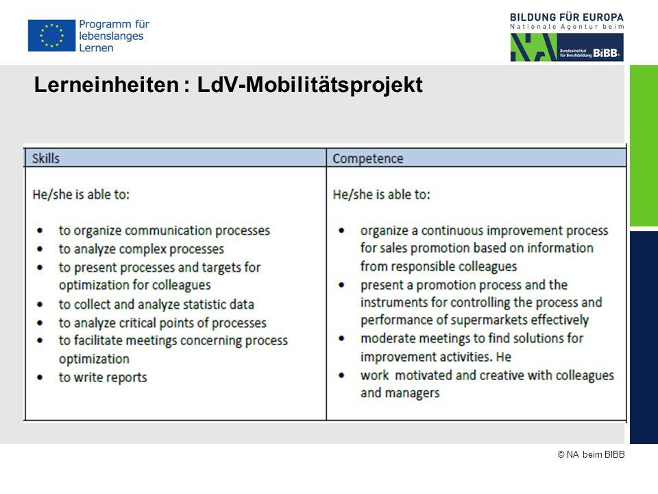 Lerneinheiten : LdV-Mobilitätsprojekt