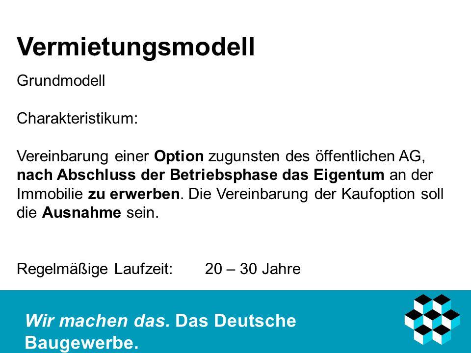 Vermietungsmodell Grundmodell Charakteristikum: