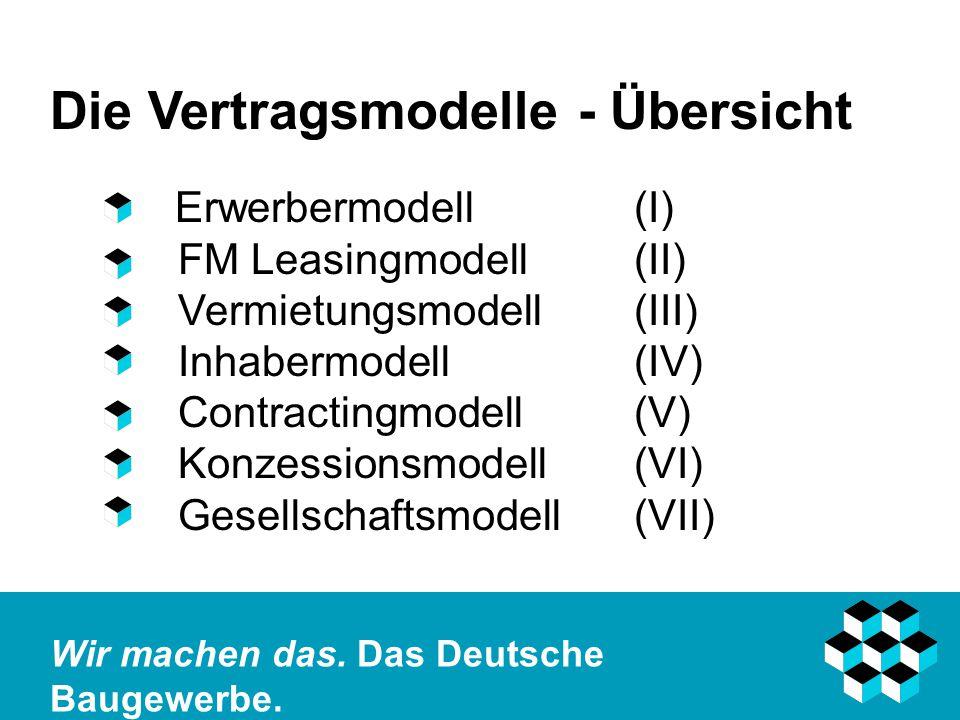Die Vertragsmodelle - Übersicht