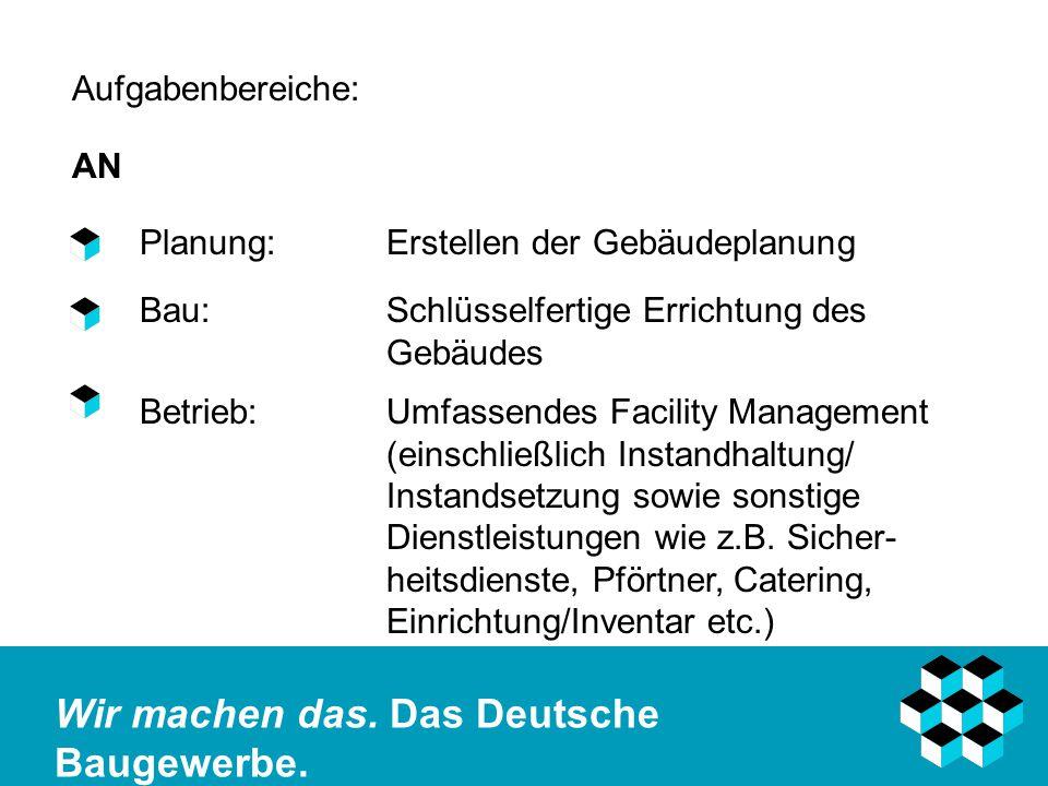 Aufgabenbereiche: AN. Planung: Erstellen der Gebäudeplanung. Bau: Schlüsselfertige Errichtung des Gebäudes.