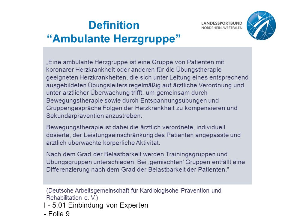 Definition Ambulante Herzgruppe