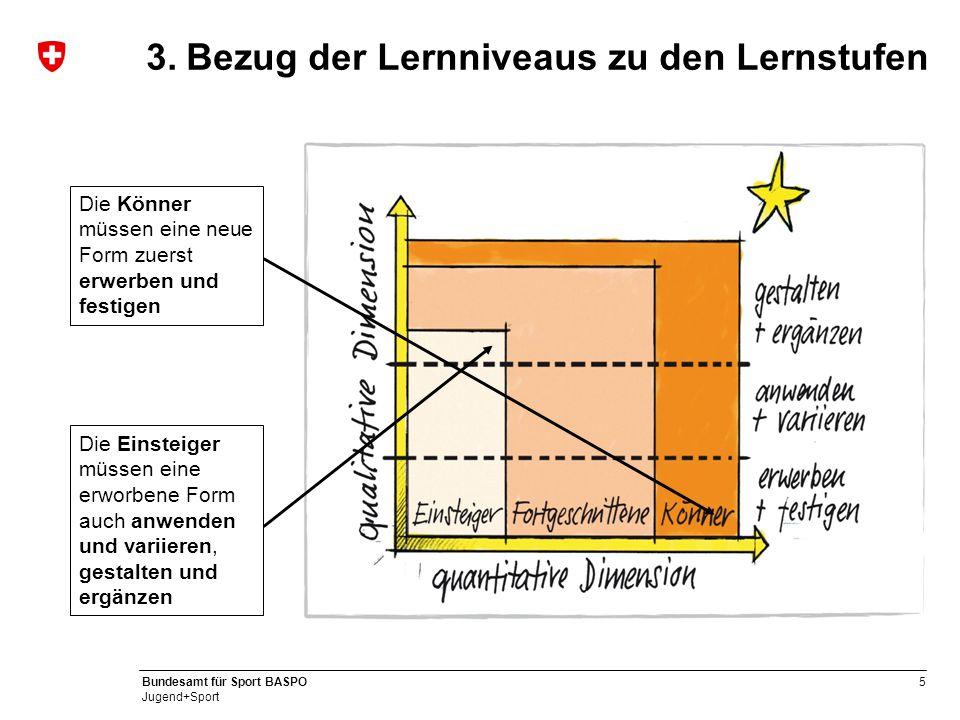 Bezug der Lernniveaus zu den Lernstufen