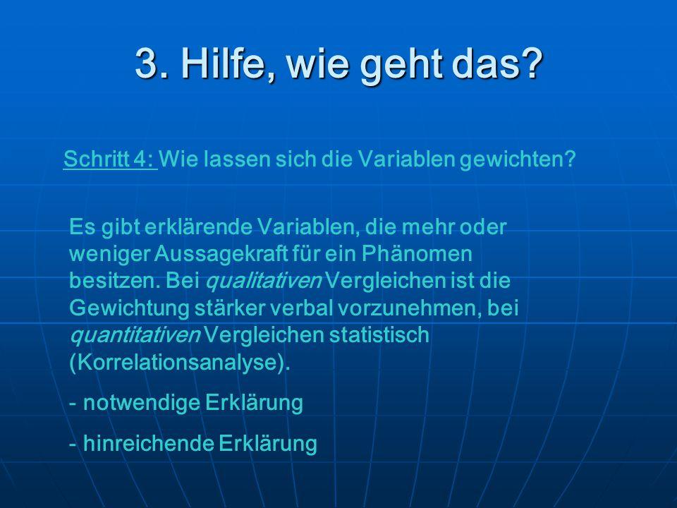 3. Hilfe, wie geht das Schritt 4: Wie lassen sich die Variablen gewichten