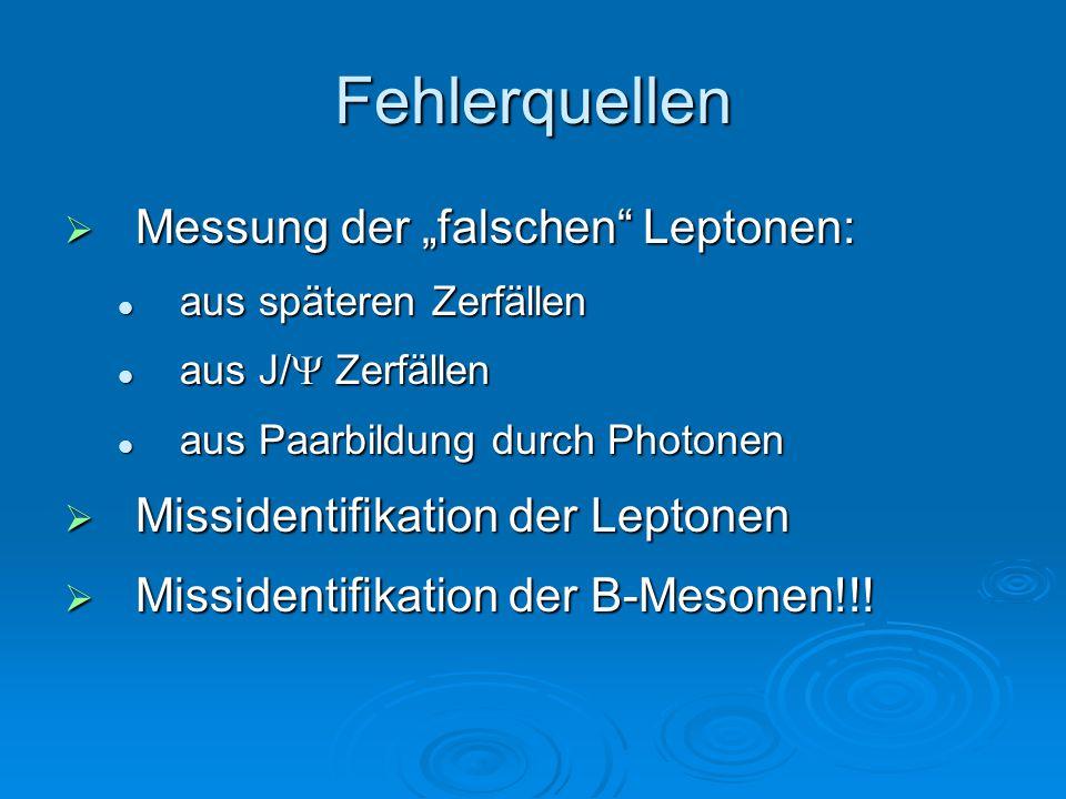 """Fehlerquellen Messung der """"falschen Leptonen:"""