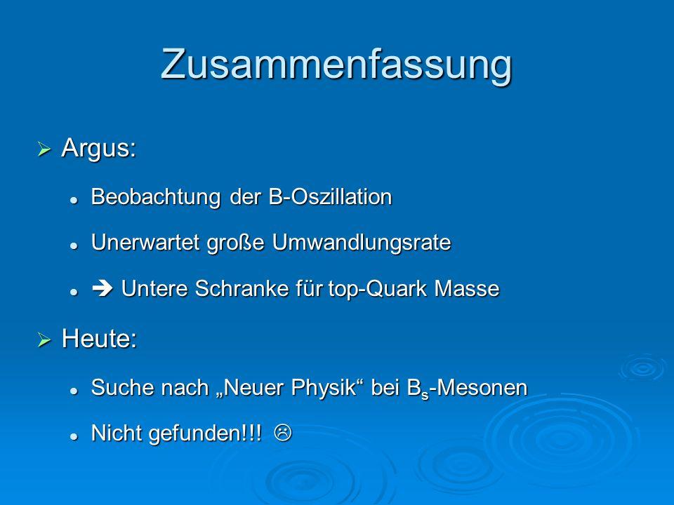 Zusammenfassung Argus: Heute: Beobachtung der B-Oszillation