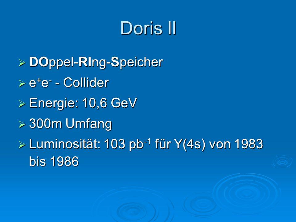 Doris II DOppel-RIng-Speicher e+e- - Collider Energie: 10,6 GeV