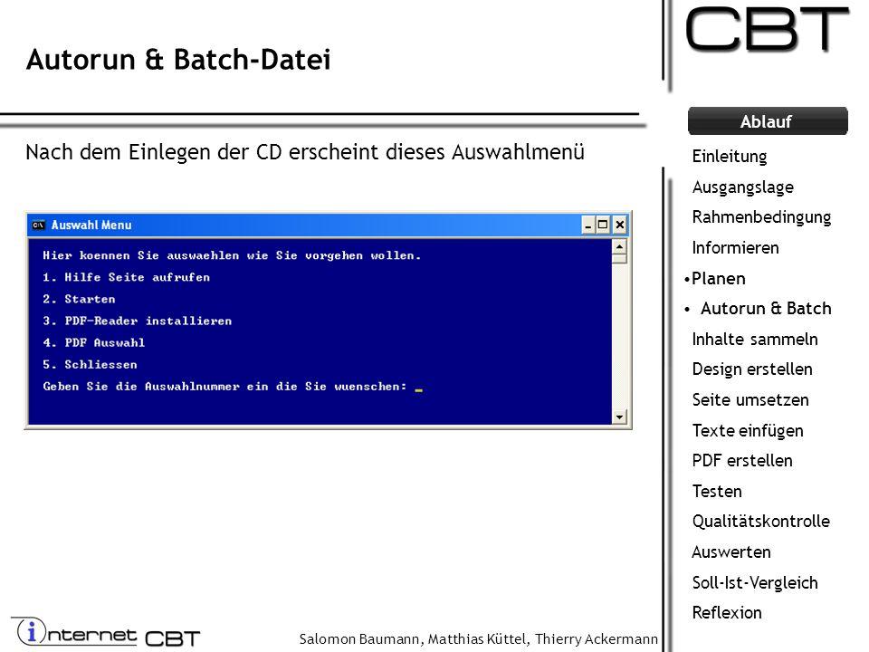 Autorun & Batch-Datei Nach dem Einlegen der CD erscheint dieses Auswahlmenü. Einleitung. Ausgangslage.