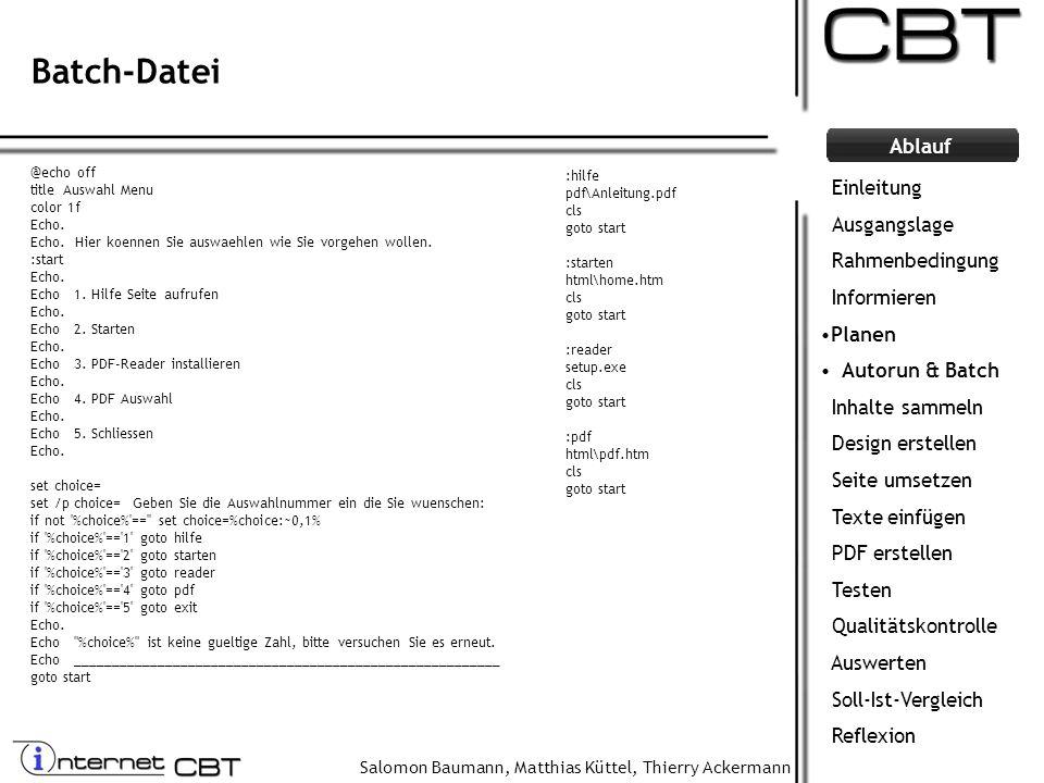 Batch-Datei Einleitung Ausgangslage Rahmenbedingung Informieren Planen