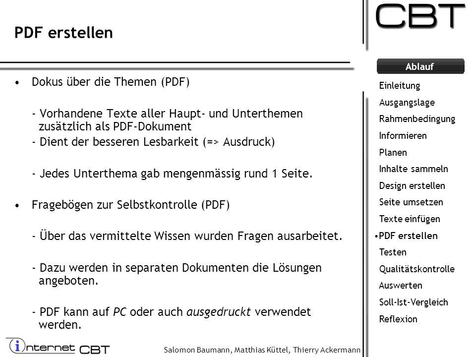 PDF erstellen Dokus über die Themen (PDF)