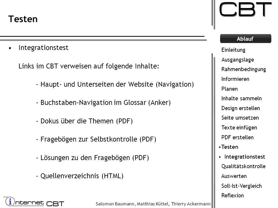 Testen Integrationstest Links im CBT verweisen auf folgende Inhalte: