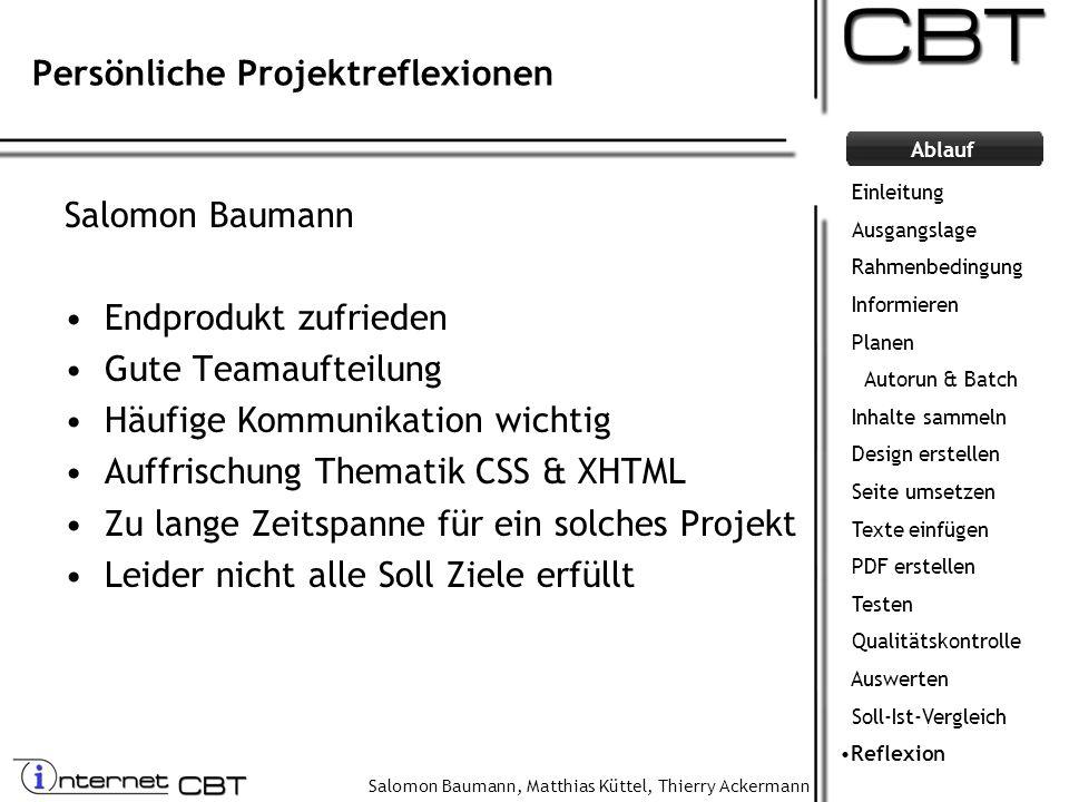 Persönliche Projektreflexionen