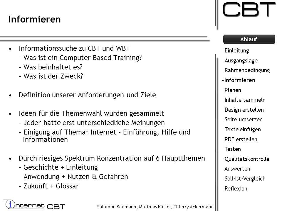 Informieren Informationssuche zu CBT und WBT