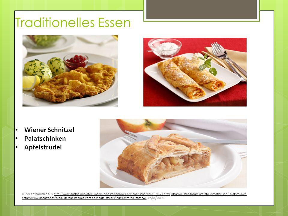 Traditionelles Essen Wiener Schnitzel Palatschinken Apfelstrudel