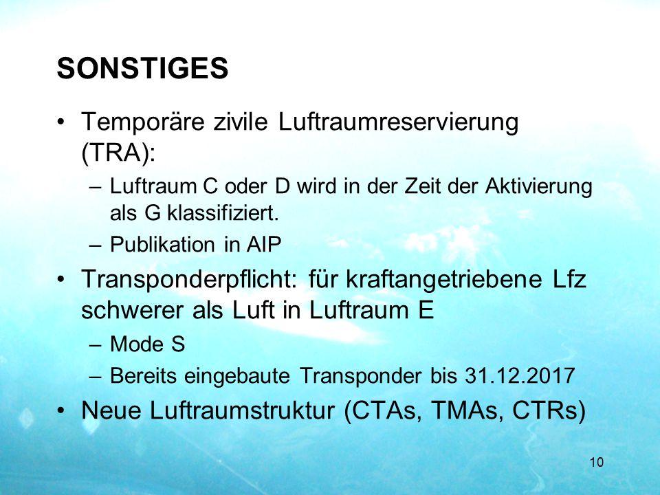 SONSTIGES Temporäre zivile Luftraumreservierung (TRA):