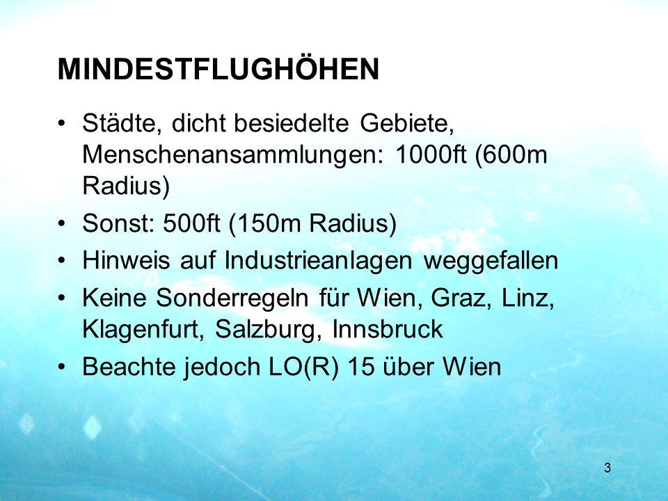 MINDESTFLUGHÖHEN Städte, dicht besiedelte Gebiete, Menschenansammlungen: 1000ft (600m Radius) Sonst: 500ft (150m Radius)