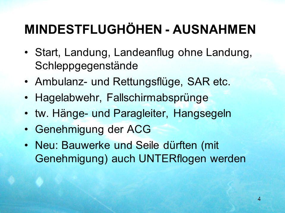 MINDESTFLUGHÖHEN - AUSNAHMEN