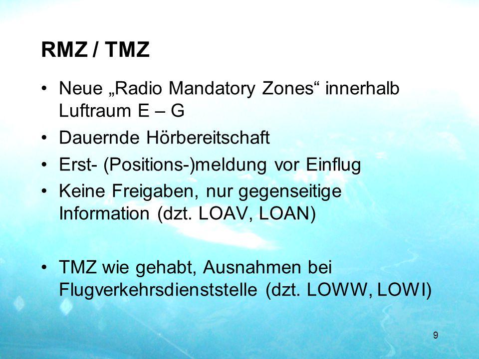 "RMZ / TMZ Neue ""Radio Mandatory Zones innerhalb Luftraum E – G"