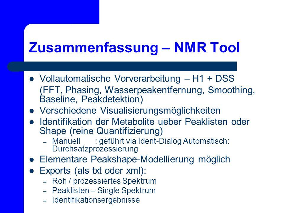 Zusammenfassung – NMR Tool