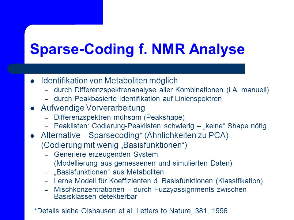 Sparse-Coding f. NMR Analyse