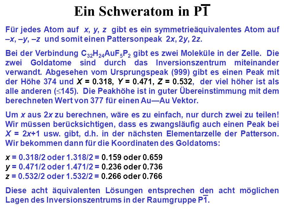 Ein Schweratom in P1 Für jedes Atom auf x, y, z gibt es ein symmetrieäquivalentes Atom auf –x, –y, –z und somit einen Pattersonpeak 2x, 2y, 2z.