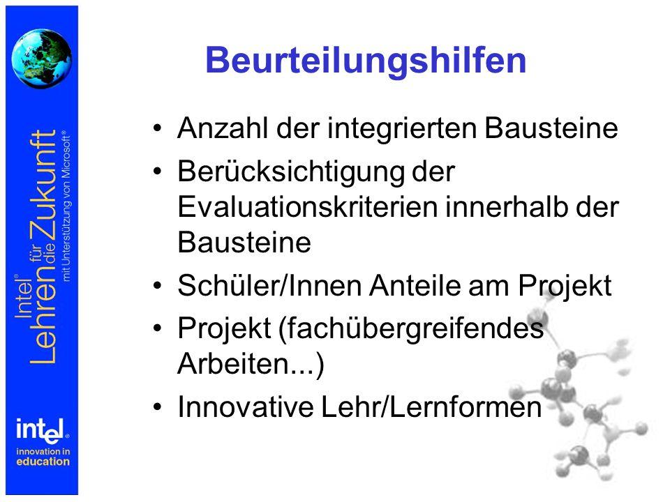 Beurteilungshilfen Anzahl der integrierten Bausteine