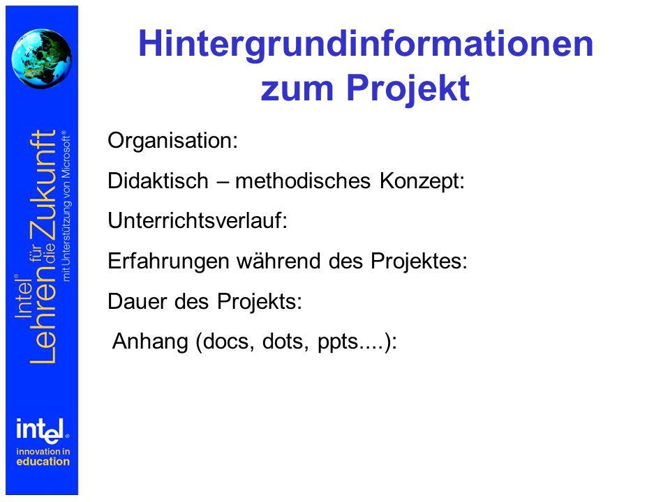 Hintergrundinformationen zum Projekt