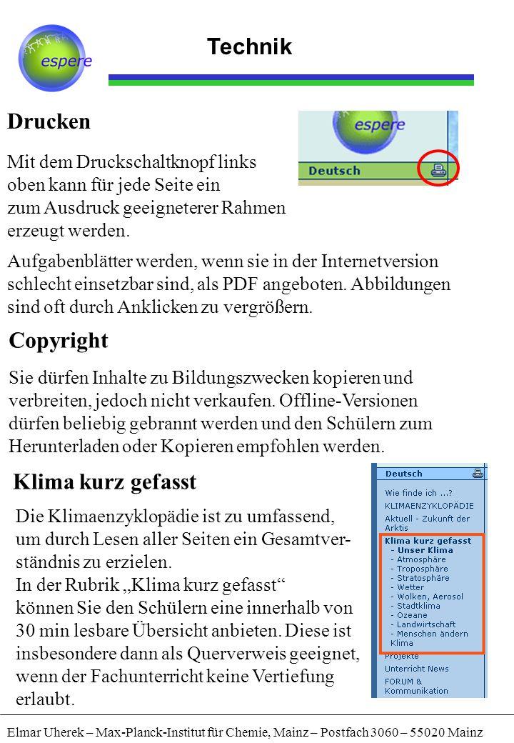 Technik Drucken Copyright Klima kurz gefasst