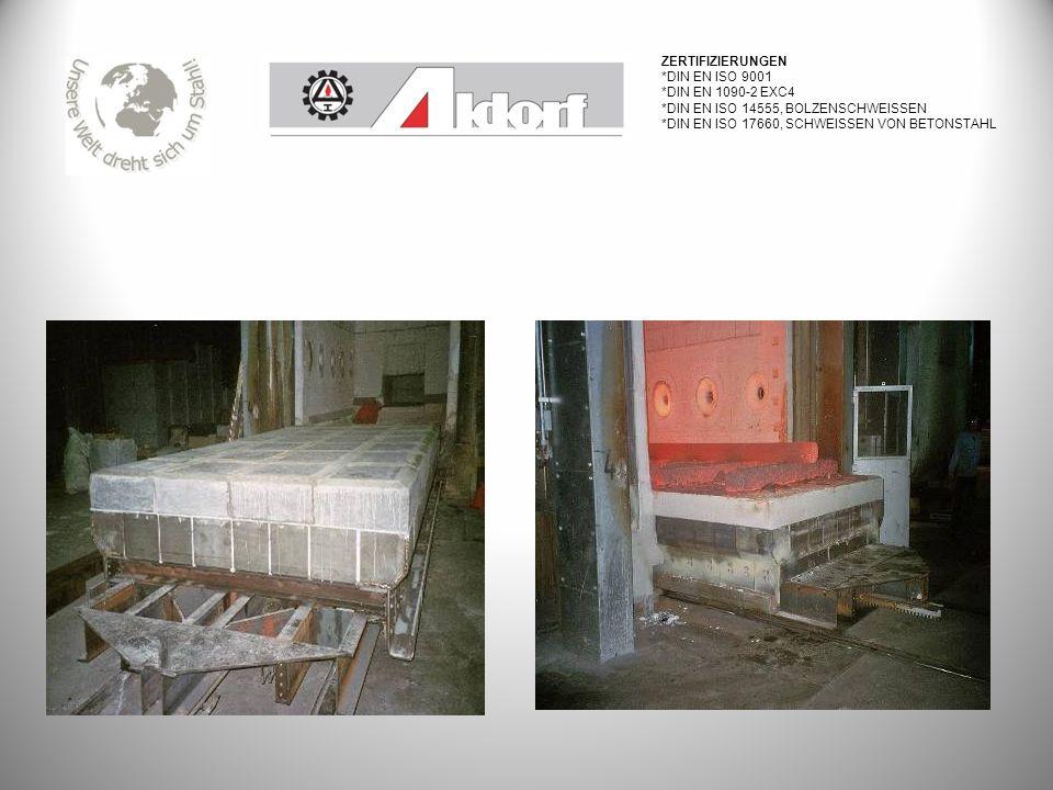 Zertifizierungen *DIN EN ISO 9001. *DIN EN 1090-2 EXC4. *DIN EN ISO 14555, bolzenschweissen. *DIN EN ISO 17660, Schweissen von Betonstahl.