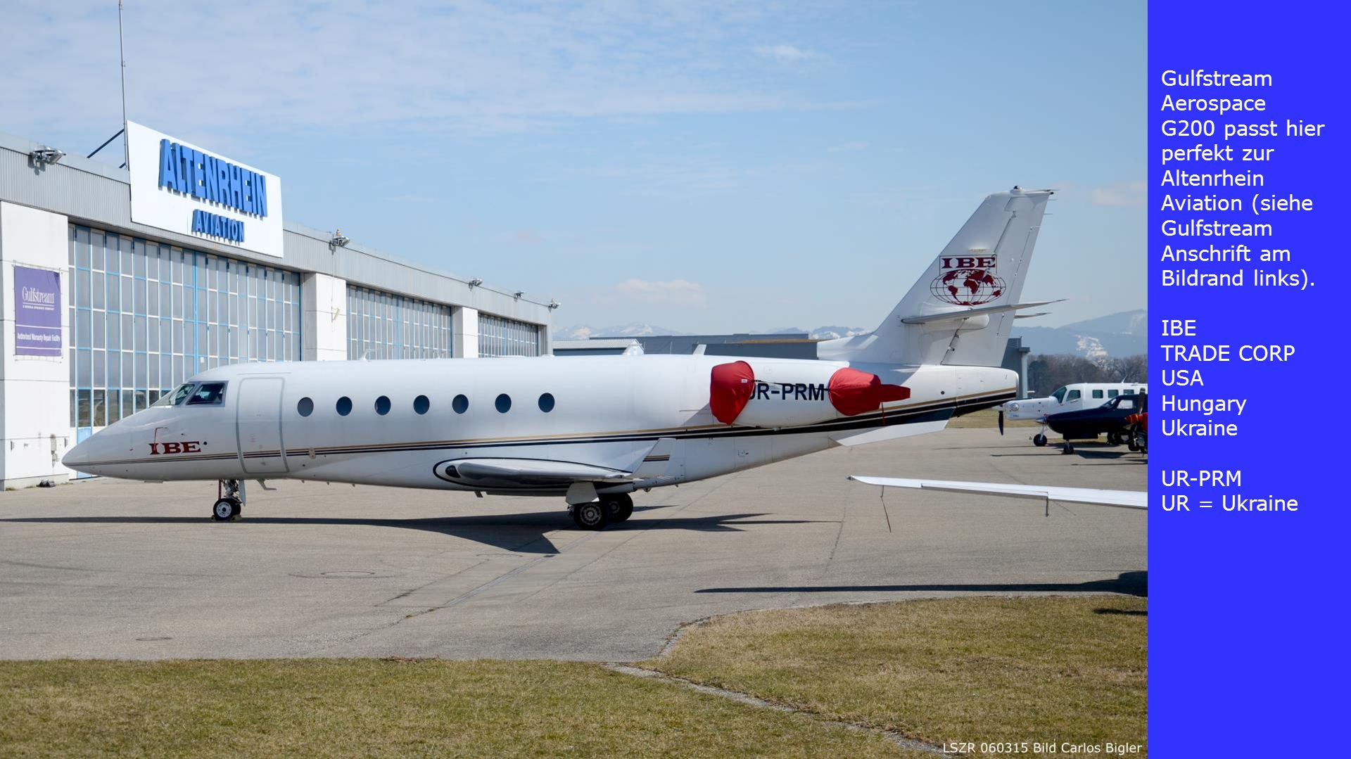 Gulfstream Aerospace G200 passt hier perfekt zur Altenrhein Aviation (siehe Gulfstream Anschrift am Bildrand links).